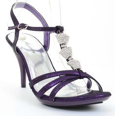 Jeweled Formal Wedding Bridal Low Heel Sandal Purple