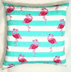 Handmade Aqua White Flamingos Home Decor Cushion Cover NEW White Flamingo, Caravan Decor, Blue Cushions, Aqua, Pillows, Cover, Handmade, Ebay, Home Decor