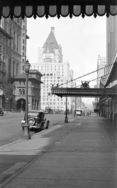 Looking west along Georgia Street [from Granville Street] towards the third Hotel Vancouver | this building on the corner where the TD building is now looks grand - i wish Vancouver would keep its history