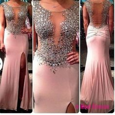 Backless Prom Dresses,Pink Prom Dress,Open Back Prom Gown,Open Backs Prom Dresses,Slit Evening Gowns,Beaded Bodice Formal Gown,Crystals Evening Gowns,Split Formal Gown For Teens Girls PD20184544