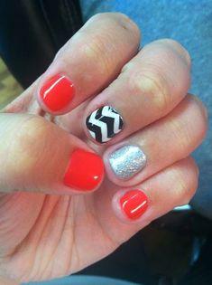 Nail Art for Short Nails: Red Nails, Black and White Nails and Silver Nails