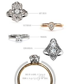 Trumpet & Horn Vintage Engagement Rings | Green Wedding Shoes Wedding Blog | Wedding Trends for Stylish + Creative Brides Literally beautiful and perfect options!