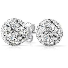 White Crystal Ball Stud Earrings Shamballa Inspired 925 Sterling ($9.99) ❤ liked on Polyvore featuring men's fashion, men's jewelry, earrings and clear