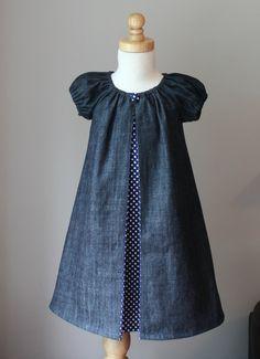 Denim Peasant Peekaboo Dress -  - Sizes 6m, 12-18m, 2t, 3t, 4t, 5t. $42.00, via Etsy.
