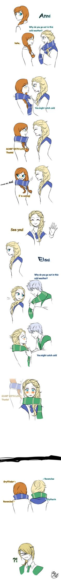 Scarf by Lime-Hael on deviantART | Frozen's Elsa and Anna, Rise of the Guardians' Jack Frost, and How to Train Your Dragon's Astrid | J.K. Rowling's Harry Potter