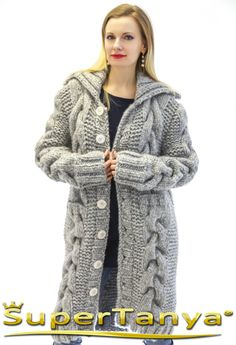Made to order hand knitted mohair wool cardigan in grey, thick chunky handmade…