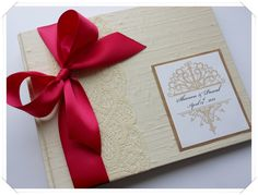 custom wedding guest book in ivory and fuchsia