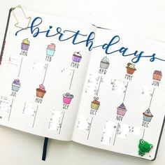 Birthday tracker log layout bullet journal page ideas inspiration bujo doodles How to start a bullet journal tips bujo journal bullet journal organization ideas Bullet Journal Inspo, Minimalist Bullet Journal, Organization Bullet Journal, Bullet Journal Ideas Pages, Bullet Journal Spread, Art Journal Pages, Bullet Journals, Organization Ideas, Bullet Journal How To Start A Layout