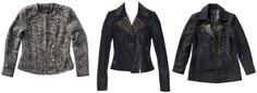 COMANDER CHECK JACKET   COAT   NAVY/BLACK  $99.95  STUDDED COLLAR LEATHR JACKET  LIGHT MIDNIGHT $229.00      LONGLINE BIKER   NAVY $129.00