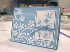 The background is an inked embossing folder. Lovely effect.