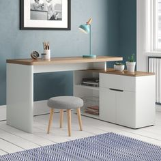 The Cuuba Libre Corner Desk is a corner desk with many advantages. Cuuba Libre Corner Desk can be assembled in a left or right version. Storage space can be found in the open container and behind the two doors and the drawer. Home Office Design, Home Office Decor, Office Furniture, Home Decor, Interior Office, Interior Design, Desk In Living Room, Bedroom Desk, Desk Storage