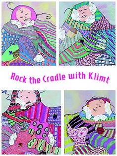 """Here is a lesson about pattern, based on Gustav Klimt's """"Baby (Cradle)."""" http://www.artsandactivities.com/Page/Articles07/A120730.pdf"""