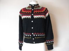Fair Isle hand knit cardigan sweater size S by GamineClothing