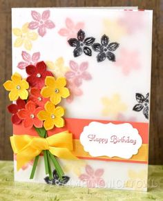 Birthday card featuring Stampin' Up! Petite Petals stamp set #StampinUp