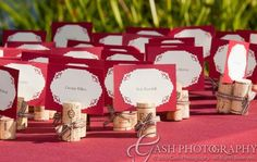 I like this idea for escort cards.the colors ehhh not so much. Cork Place Cards, Cork Wedding, Wedding Seating, Greece Wedding, Hawaii Wedding, Destination Wedding, Wedding Name Cards, Red And White Weddings, Wedding Place Settings