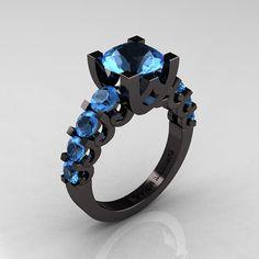 Modern Vintage 14K Black Gold 3.0 Carat Blue Topaz Designer Wedding Ring R142-14KBGBT on Etsy, $2,299.00