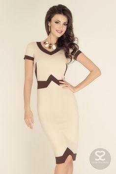 Деловое платье с контрастными вставками купить в интернет магазине дизайнера. | Skazkina