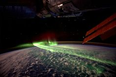Aurora Australis from the International Space Station.  Love the view of the Station along with the vastness of space beyond it.