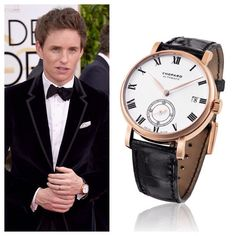 Eddie Redmayne wore this Classic Manufacture Watch by Chopard to the 2015 Golden Globe Awards, where he took home the award for Best Performance for his portrayal of Stephen Hawking in The Theory of Everything.