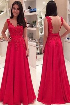 Elegant V-neck Lace Backless Red Custom Made Prom Dresses, Floor-Length Evening Dress,Prom Dresses