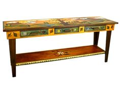 Sticks Tree of Life Hand-Painted Sofa Table - The Tree of Life Hand-Painted Sofa Table by Sticks is a 60 long hand-painted rectangular sofa table with 3 under-counter drawers. Made in the USA.