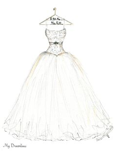 Wedding Dress Sketches - Your Wedding Dress Sketched From A Photo. Наречена  ВесілляВесільні ... 63ac8e777071d