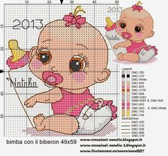 baby girl- gotta find a boy version just in case Baby Cross Stitch Patterns, Cross Stitch For Kids, Cross Stitch Baby, Cross Stitch Charts, Cross Stitch Designs, Baby Patterns, Baby Embroidery, Cross Stitch Embroidery, Embroidery Patterns Free