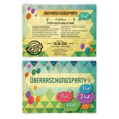 Einladungskarten Zur Überraschungsparty Mit Eigenem Text Individuell  Bedruckt Bereits Ab U20ac Auf Kartenmachen.de Versandkostenfrei Online  Bestellen!