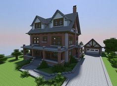 Late 1800's-style Brick House Minecraft Project, and I see a basement here, nice touch!