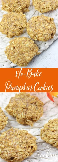 Easy No-Bake Pumpkin Cookies are a new favorite Fall Cookie. Make a batch of coo., Desserts, Easy No-Bake Pumpkin Cookies are a new favorite Fall Cookie. Make a batch of cookies in 15 minutes! Pumpkin No Bake Cookies, Fall Cookies, Healthy Pumpkin Cookies, Easy No Bake Cookies, Pumpkin Recipes No Sugar, Easy Fall Deserts, Pumkin Cookies Recipes, Pumpkin Recipes Healthy Easy, Pumpkin Deserts