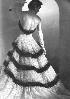 Tiered, fur trimmed gown, 1952. For drinking several hot toddies while watching Judy Garland Christmas Specials at 11 o'clock in the morning.