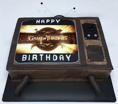 Cakes:  Game of Thrones TV cake with edible image programme screen. The Cake Lab Bakery, Ranelagh, Dublin, Ireland. Artisan Baking Studio.