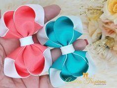 ✓Laço Mini Elegance 🎀🎀 - YouTube Hair Ribbons, Ribbon Hair, Ribbon Bows, Baby Bows, Baby Headbands, Kids Hair Bows, Hair Bow Tutorial, Baby Turban, Boutique Hair Bows