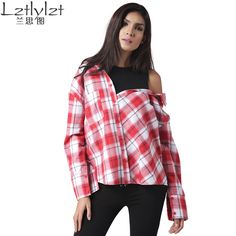 2017 spring women plaid shirt blouse off shoulder Fake two piece streetwear casual long sleeve plus size blouses shirts