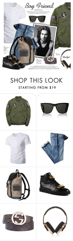 """""""Rosegal: You Rock My World!"""" by defivirda on Polyvore featuring Yves Saint Laurent, Merrell, 7 For All Mankind, Gucci and Pryma"""