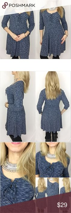 """✨FLASHSALE Cutest Marled Lace Up Tunic Dress M This little tunic dress is adorable & right on trend. Featuring a lace up front & marled stretchy fabric in blue & white. Flattering Flowy style with tapered elastic waist & 3/4 sleeves. Looks great alone or with leggings or denim.  65% Polyester - 35% Rayon.   Size Medium  Bust 34-36 Waist 30"""" Length 36"""" Tops Tunics"""