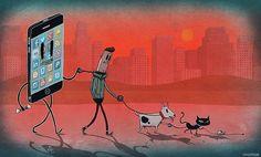 Der Illustrator und AnimatorSteve CuttsausLondon zeigt uns mit seinen Arbeiten den wahren Blick auf die heutige Welt. Smartphones haben uns total eingenommen und sind für einige Menschen viel wichtiger geworden als das reale Leben. Steve kritisiert mit