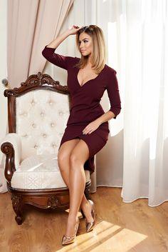 Rochie StarShinerS Romantic Grace Burgundy Maneci trei-sferturi