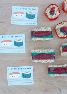 cute custom valentines cards and candy sushi valentine's day fun DIY craft
