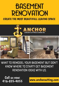 Contact AnchorCutting - well known name in basement renovation services in Brampton, Mississauga, Milton and Oakville. Basement Renovations, Own Home, Home And Living, Anchor, Concrete, Old Things, Change, Lifestyle, People