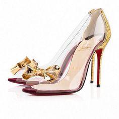 Zapatillas transparente con moño dorado!!!
