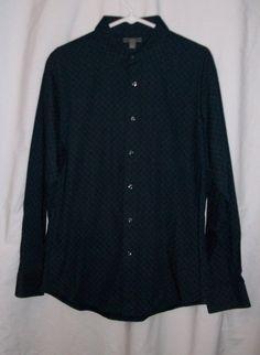 Mens Sz Large apt. 9 Navy Blue Print Long Sleeve Casual Dress Shirt #Apt9