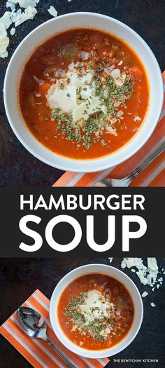 Healthy Hamburger Soup recipe - a great way to use up leftovers. I love Hamburger Soup, it's such a comfort food dinner idea. Drop the cheese and you have a Whole30 soup that is also paleo and clean eating!