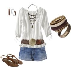 Casual...Love this look.  Would LOVE to be able to pull off short shorts!