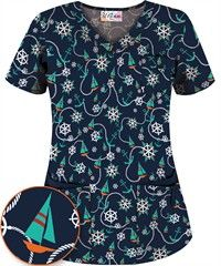 UA Sail Away Navy 5 Pocket Print Scrub Top Uniform Advantage