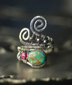 """Ruby Sky"" ~ Natural Turquoise Ruby Pyrite Sterling Silver Wire Wrapped Ring by Moss & Mist Jewelry 