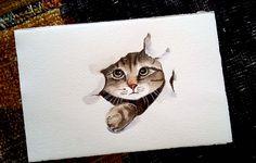 Cucu settete!   -  gatto in acquerello