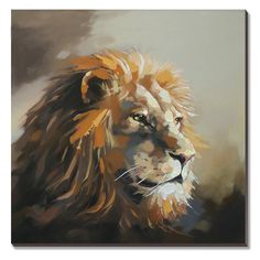 cubism Animal Lion Oil Painting 100% Hand-painted on Canvas (Stretched / Ready to Hang) 30x30inch Modern Home Decor for Living Room Home Decor -- Discover this special product, click the image : Christmas decor