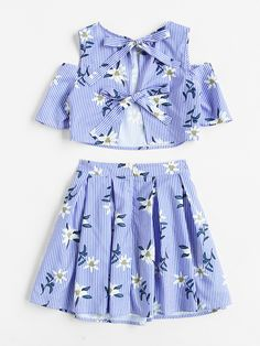 Open Shoulder Split Tie Back Top & Box Pleated Skirt Set -SheIn(Sheinside) Girls Fashion Clothes, Teen Fashion Outfits, Outfits For Teens, Girl Fashion, Cute Summer Outfits, Cute Casual Outfits, Dresses Kids Girl, Cute Dresses, Jugend Mode Outfits