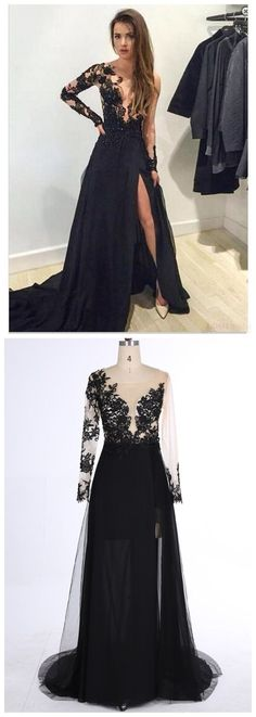 Sleeve Lace Prom Dresses,Mermaid Prom Dresses,Black V-Neck Prom Dress,Sweep Train Evening Dress with Appliques